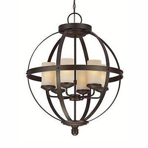 Sea Gull Lighting Sfera 6 Light Chandelier In Autumn Bronze With Cafe Tint Glass NEW