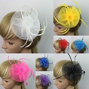 Womens Lady's Feather Mesh Fascinator Hair Piece Hat - New