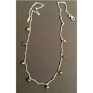 Vintage Sterling Silver and Tiger's Eye Necklace