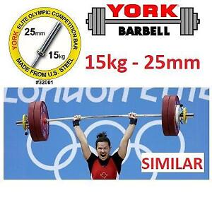 NEW* 15KG OLYMPIC WEIGHT BAR 32001 230333809 WOMEN'S COMPETITION 25MM SATIN CHROME FINISH