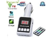 Car MP3 Player, Wireless FM Transmitter + 2 USB charger, SD MMC, LCD