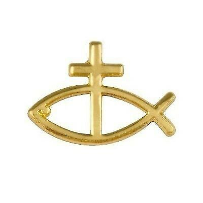 ss Lapel Pins (3)  Gold Plated, Jesus Fish (Christian Lapel Pins)
