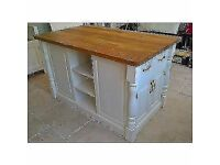 WOOD LIVING Solid Pine Island Unit with Rustic Oak Worktop