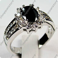 Black sapphire lady's 10KT white Gold Filled Ring size 8