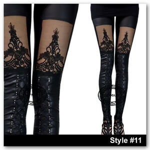 Black and White Print Women Rock Punk Funky Sexy Leggings Tights Pants