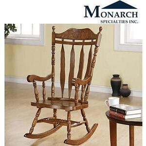 NEW MONARCH ROCKING CHAIR DARK WALNUT FINISH - HIGH SOLID WOOD - MONARCH SPECIALTIES 107288386