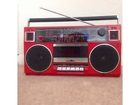 TOSHIBA RT-90S Am FM Cassette Boombox Stereo Radio black (like pic but in black)