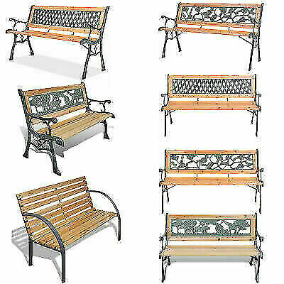 Outsunny 2 Seater Metal Garden Bench Antique Backyard Porch Outdoor Double Seat with Decorative Cast Iron Backrest