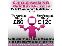 Digital TV Aerials & Satellite TV Wallmount engineer repair & installer, freeview SKY freesat