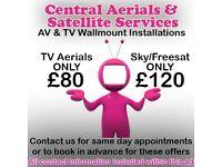 Digital TV Aerials & Satellite TV Wallmount engineer repair & installer, freeview SKY freesat