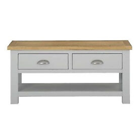 Ex display Heart of House Kent 2 Drawer Coffee Table - Soft Light Grey