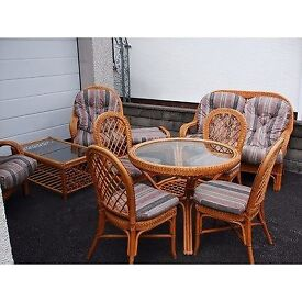 ROUND GLASS TOP TABLE & 4 CHAIRS WITH CUSHIONS. COFFEE TABLE TO MATCH.