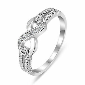 BRAND NEW sterling silver & crystal infinity ring size 7