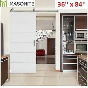 NEW* MASONITE BARN DOOR SET 47590 216325896 36'' x 84'' MELROSE PRIMED