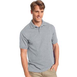 33a1a6d1e64 Hanes Men s Comfortblend Ecosmart Jersey Knit Polo 054 Light Steel ...