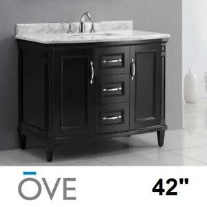 """NEW* OVE DECORS 42"""" VANITY COMBO - 128364430 - ROSE COLLECTION BLACK CABINET CARRARA MARBLE TOP BATH BATHROOM CABINET..."""