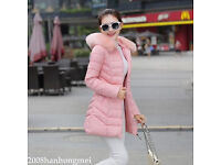 New Women fashion winter padded hooded long coat with fur collar_apricot pink, UK size 8 - 10
