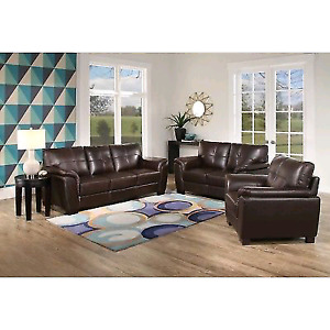 3 piece Leather Sofa, Love Seat, Chair + Side tables + Coffee Ta