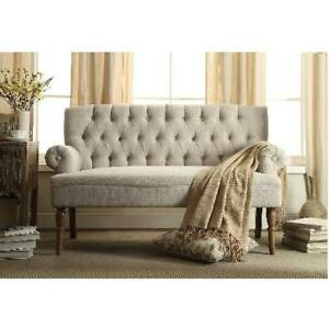 NEW MILLBURY HOME LOVESEAT BEIGE - 130978368 - TUFTED BUTTON UPHOLSTERED