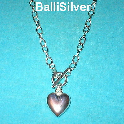"""3 Sterling Cable Chain HEART Charm Toggle NECKLACES 24"""""""
