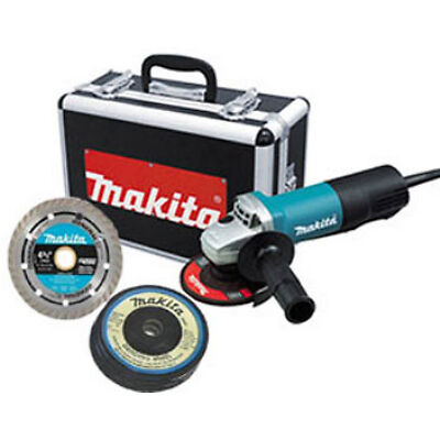 "Makita 9557PBX1 4-1/2"" Angle Grinder w/ Case, Diamond Blade and Grinding Wheels on Rummage"