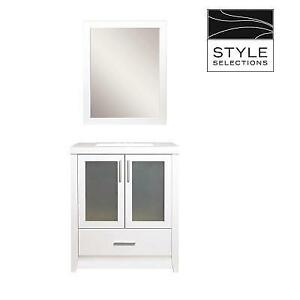 NEW* STYLE SELECTIONS VANITY SET CBLW130M-SS 211609270 BATHROOM BELLWORTH WHITE SINGLE SINK MIRROR MARBLE TOP 30''