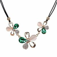 Green Crystal leather flower Pendant Necklace