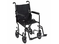 Z-TEC Lightweight foldable hand push wheelchair with foot rests. VGC, hardly used with cushion