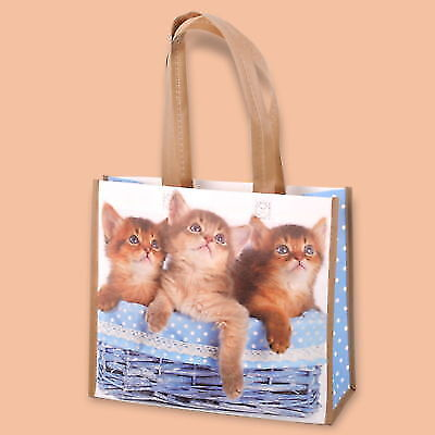 PACK OF 10 ECO NON WOVEN SHOPPING BAGS PRINTERED CATS REUSABLE 35 x 13/30 cm
