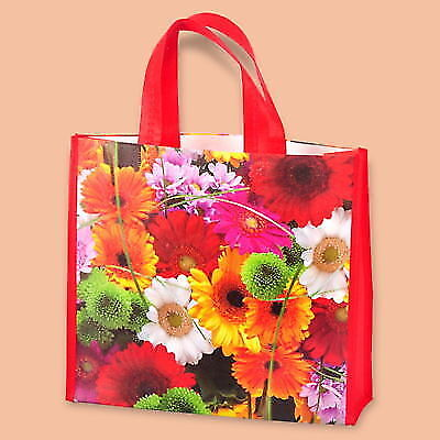PACK OF 10 ECO NON WOVEN SHOPPING BAGS RED PRINTERED FLOWERS REUSABLE 35+10/31cm