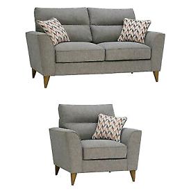 Oak Furnitureland Jensen Silver 2 Seater Sofa and Armchair