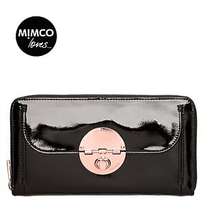 *SALE*MIMCO LARGE TURNLOCK TRAVEL WALLET BLACK ROSE GOLD PATENT LEATHER RRP229