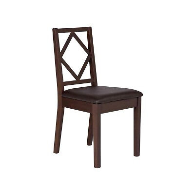 Pair of Oak Stain Diamond Dining Chairs - Walnut