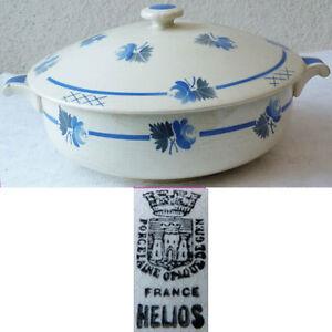 soupiere 1l750 porcelaine opaque de gien decor helios fleurs bleues ebay. Black Bedroom Furniture Sets. Home Design Ideas