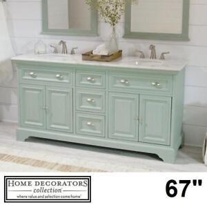 "NEW* HDC SADIE 67"" DOUBLE VANITY - 127434958 - HOME DECORATORS COLLECTION ANTIQUE GREEN CABINET MARBLE TOP BATHROOM C..."