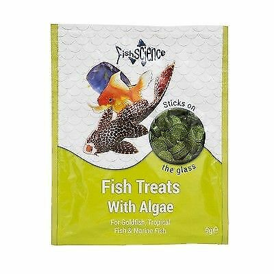 FishScience Fish Treats + Algae 9g Aquarium Food Science Tropical stick on Tabs
