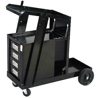 Black Welding Cart W4 Drawer Cabinet Mig Tig Arc Plasma Cutter Tank Storage