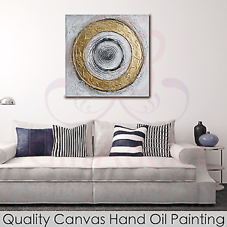 Framed Canvas Hand Oil Painting Abstract Circles Wall Art Home De