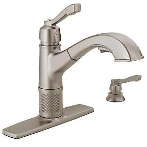 Delta Kitchen Faucet Pull Out Sprayer Soap Dispenser Single Handle Stainless