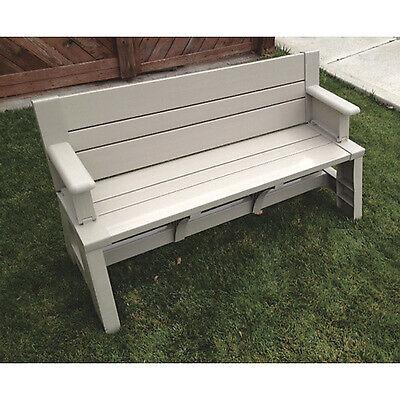 5ft. Tan Outdoor Convert-a-Bench Seat Convert To Picnic Table Resin Vinyl Fold Convertible Picnic Table Bench