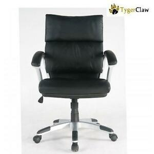 NEW TYGERCLAW LEATHER OFFICE CHAIR BLACK MID BACK BONDED LEATHER CHAIR 107267270