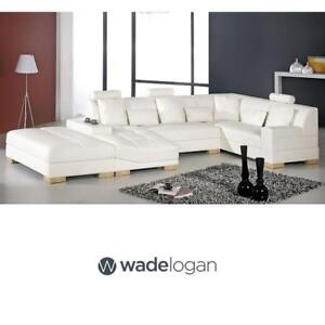 NEW WADE LOGAN LEATHER SECTIONAL - 133169137 - GUILHERME WHITE UPHOLSTERY SECTIONALS SOFA SOFAS COUCH COUCHES SEATING...
