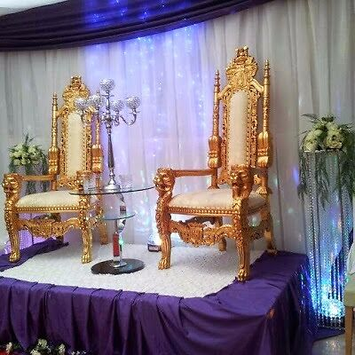 Wedding Gold Throne Chairs His Hers King Queen Royal