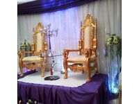 Wedding Gold Throne Chairs / His & Hers / King & Queen Chairs / Royal Chairs / Gold Pillars Silver
