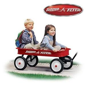 NEW* RADIO FLYER RED STEEL WAGON WITH EXTRA LONG HANDLE AND CONTROL TURNING RADIUS 107478769