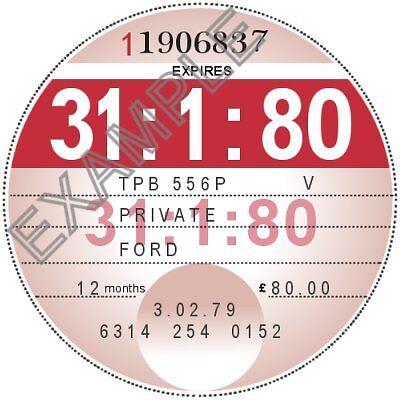 REPRODUCTION UK TAX DISC 1978 1979 1980 1981 1982 1983 1984 1985 1986 1987