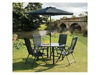 Suntime Havana1.2m black garden table and chairs set collection only