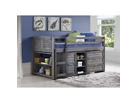 Kids mid-sleeper single bed with storage