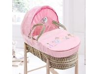 BRAND NEW CLAIR DE LUNE PINK BUNNY & CHICK PALM BABY MOSES BASKET WITH MATTRESS