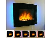 Wall Mounted Electric Fireplace Glass Heater Fire Remote Control LED Backlit.